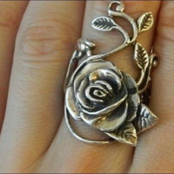 925 Sterling Silver Rose Flower Leaf Ring 7
